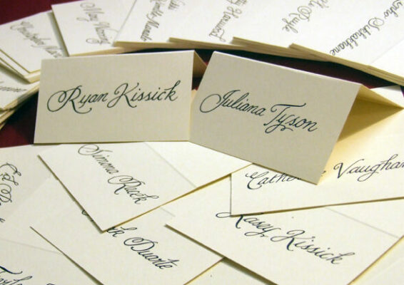 Place Cards with Guest Names inscribed - wedding calligraphy ireland