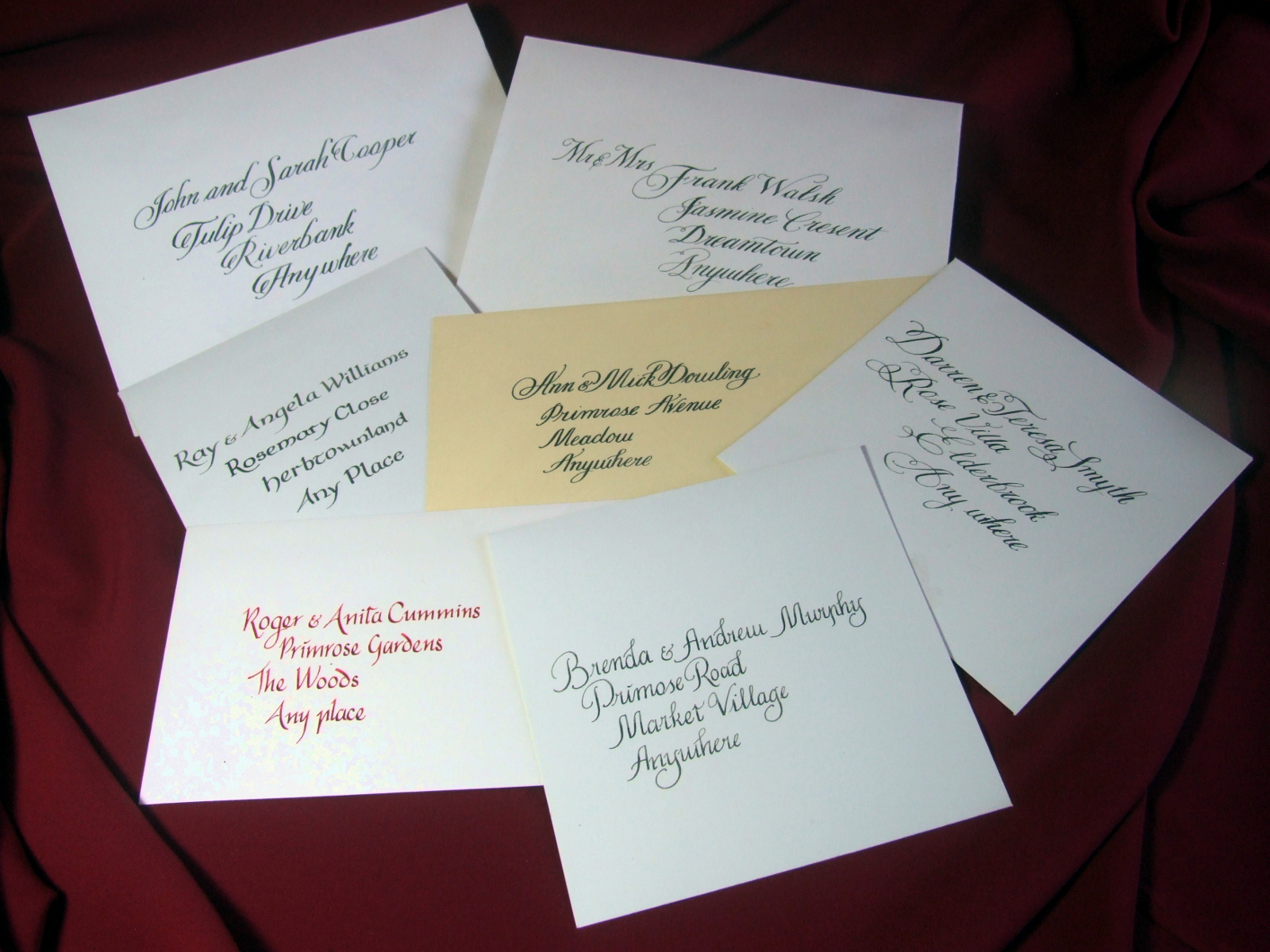 calligraphy for envelopes example. Showing various scripts