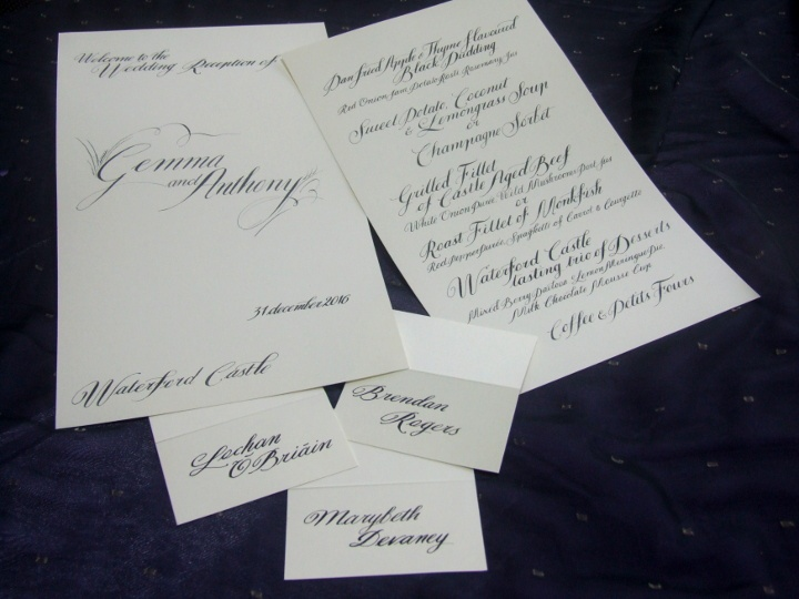wedding menu and place cards