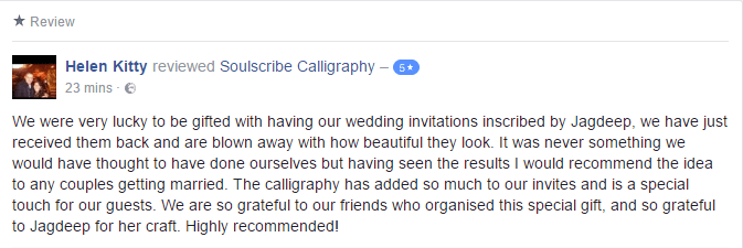 Wedding Calligraphy Review