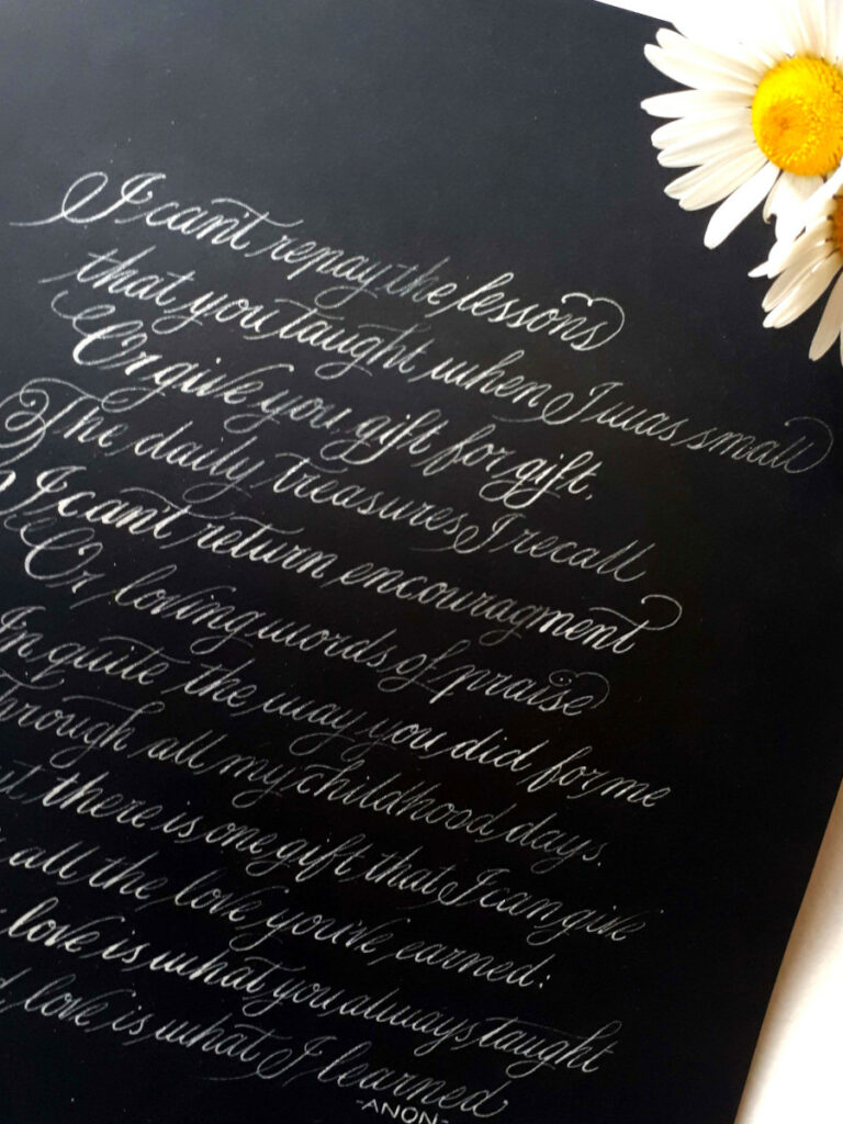 Thank you gift from daughter to mum on her wedding day. Wedding Calligraphy Ireland