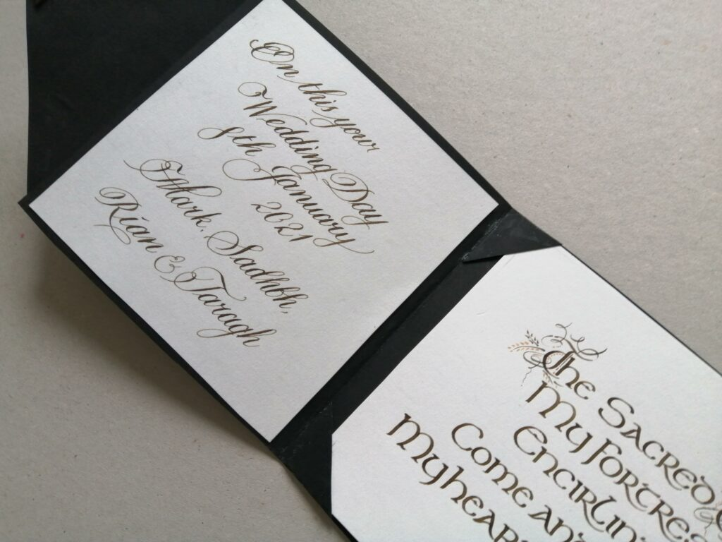 Luxury Handmade Wedding Card with personalised message and quote. Wedding Calligraphy Ireland
